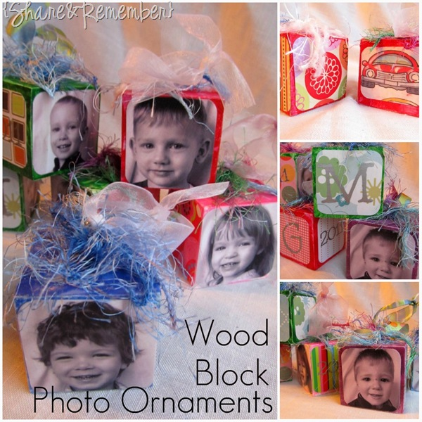Wood Block Photo Ornaments