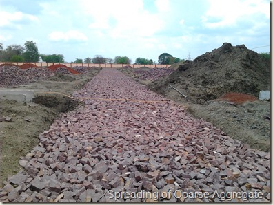 Spreaded Coarse Aggregate on WBM Road