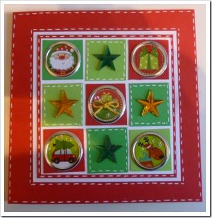 Bright Red Christmas Card, Christmas Colours Christmas Card. Nine Square Christmas Card. Faux Stitching