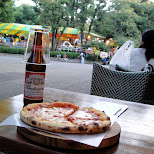 pizza and a budweiser at ueno zoo in Ueno, Tokyo, Japan
