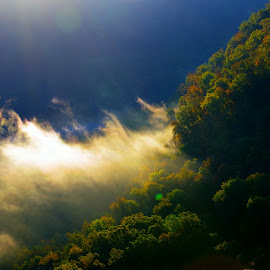 Golden Aire by Buddy Boyd - Landscapes Cloud Formations ( blue, fog, hawks crag, trees, ozarks,  )