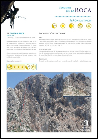 Peon de Ifach - Sur - Costa Blanca 250m 6c  (6b A0 Oblig) (senderosdealicante.com)