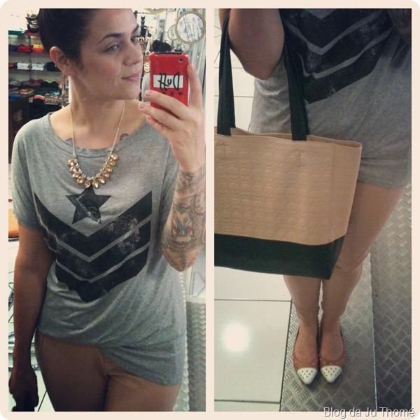 look detalhes camiseta renner e bolsa bicolor com calça nude de couro