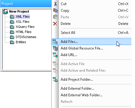 Creating an XML project