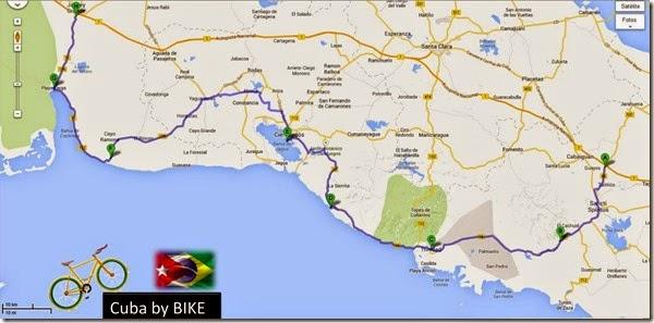 Mapa do percurso Cuba By Bike