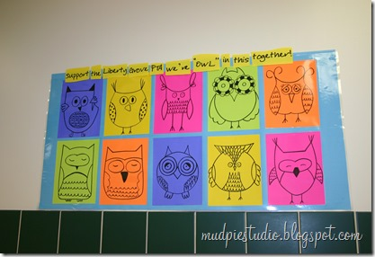 Camping theme bulletin board - owls