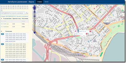 Карта на градския транспорт във Варна в реално време