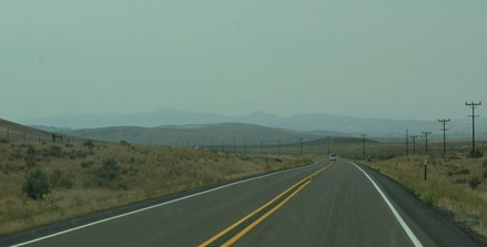 smoke from the 250K acre fires burning south in Oregon and Nevada