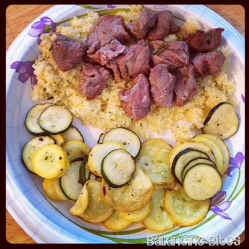 Beef Kebabs, Couscous and Grilled Squash