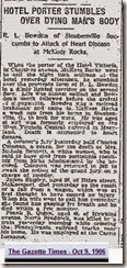 BOWDEN_Robert L_newpaper article_9 Oct 1906_The Gazette Times_page 2_PittsburghAlleghenyPennsylvania