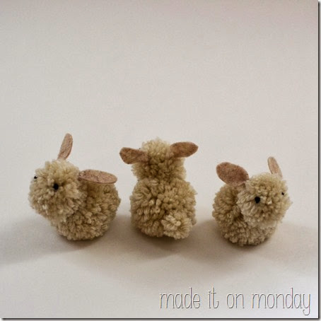 3 pom pom bunnies spring decoration