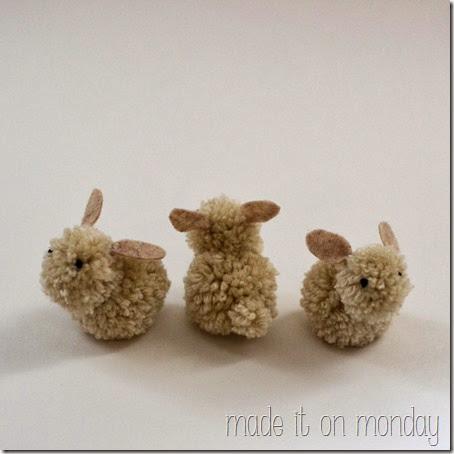 3 pom pom bunnies spring decoration