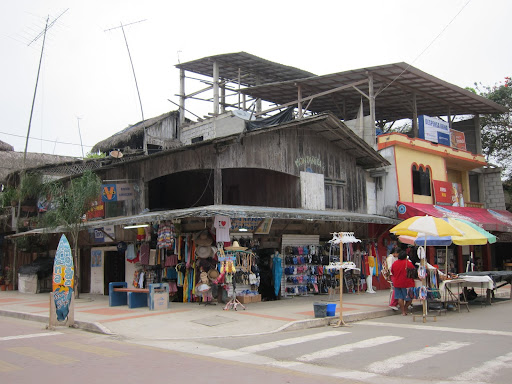 Surf and souvenir shops in Montanita, Ecuador