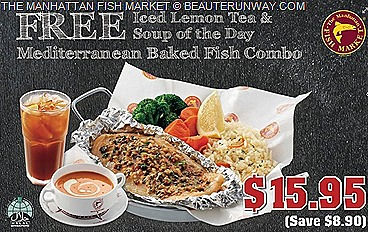 Manhattan FISH MARKET offers  Mediterranean Baked Fish Combo Scallop Americana Combo one for one Fish & Chips Dory, Flaming Seafood grilled fried Platter Set  mushrooms shrimps fish fingers calamari french fries seafood