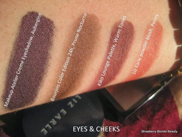MakeupAtelier-Creme-Eyeshadow-Aubergine,Bourjois24hColor-Prune-Nocturne,Kiko-Lounge-Warm,LizEarle-Peony-Blush