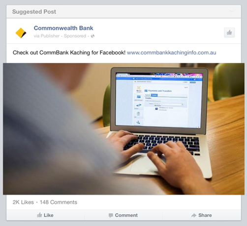 CommBank Kachine advert on Facebook