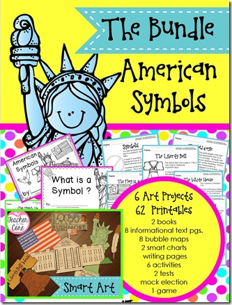 American Symbols Literacy and SMART ART by Teacher to the Core- Each project has an academic task on it to up the rigor & make your classroom look brilliant and beautiful- The reading pages will get you results