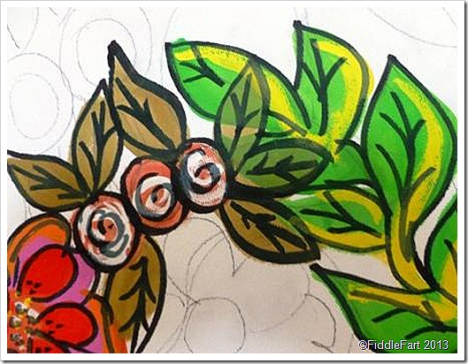 Floral Canvas in the making acrylic paint and permanant marker