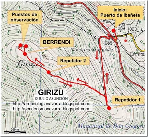 Mapa ruta Girizu
