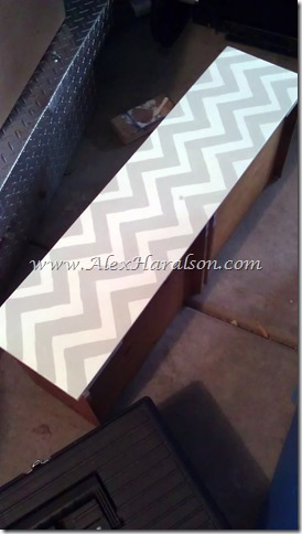Gray and White Chevron Dresser Redo Drawer Stencil done