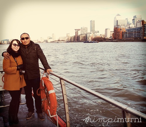 That's us with part of Canary Wharf in the background.
