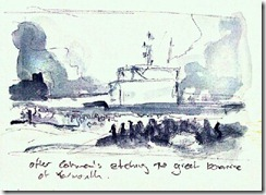 my sketch after Cotman's Great Bonfire of Yarmouth