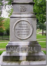 Front inscription on McDowell monument in Danville, KY