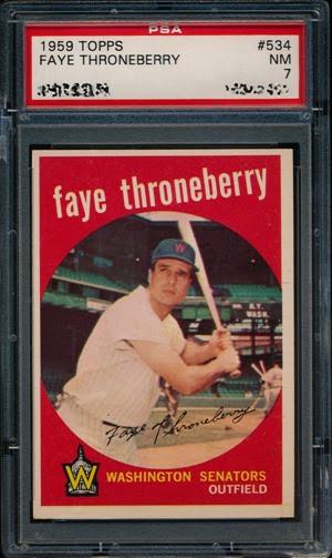 1959 Topps 534 Faye Throneberry yellow