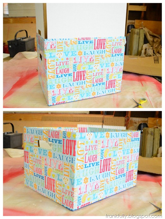covering bankers boxes with wrapping paper