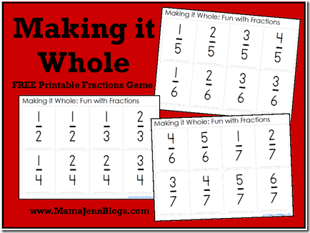 Making it Whole: FREE Printable Fractions Game