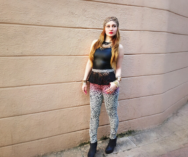 Forever 21 leopard print ombré skinny jeans & a Leather Peplum Top