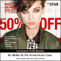 F3 Mid Season Sale 2013 Singapore Fashion Deals Offer Shopping EverydayOnSales
