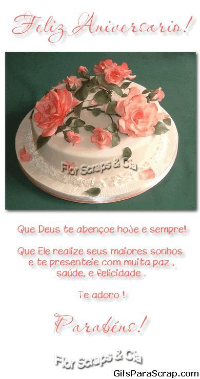 Feliz aniversário Bolo com rosas Parabéns