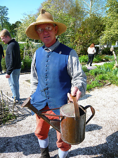 Colonial Nursery manager Don McElvey with a beautiful, period copper water can. Don works the grounds of the nursery tending the displays and know his stuff.