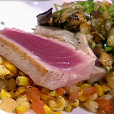Grilled Yellowfin Tuna with Sweet Corn Salad, Herb Roasted Tomatoes and Eggplant Caviar