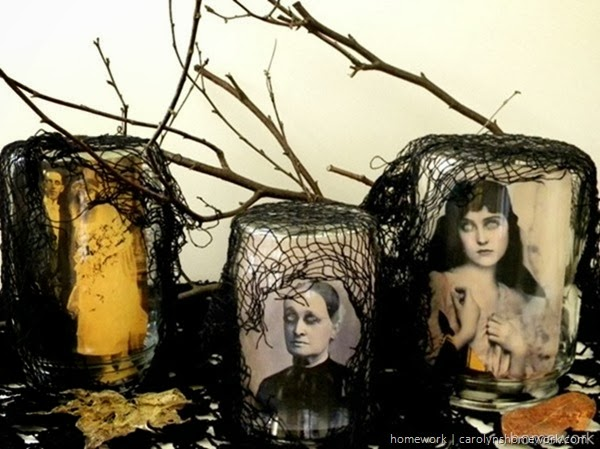 Halloween Scary Jars using vintage portraits via homework | carolynshomework.com