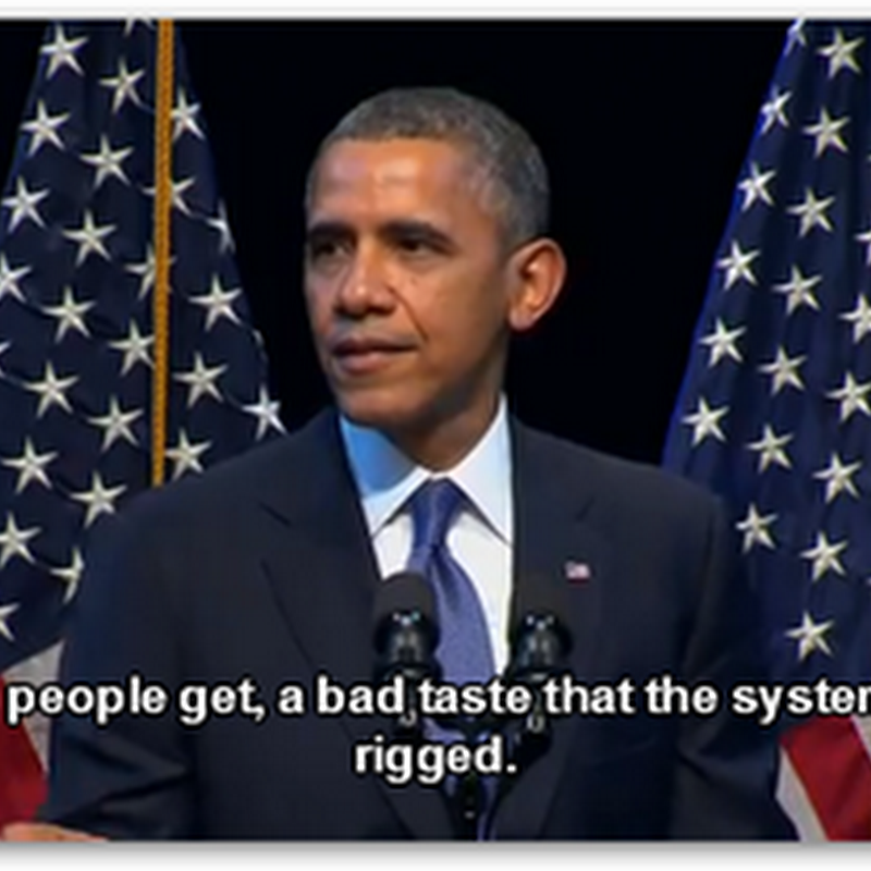 "President Obama Defines Inequality As A Real Problem in the US That Needs to Be Addressed–Most of It Is Modeled By Banks and Companies With Power and Code to Move and Gain Money and Restrict Access–The System ""Is"" Rigged…"