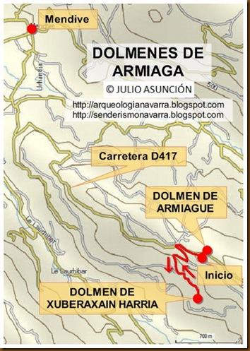 Mapa dolmenes Armiaga