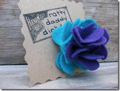 turquoise & purple felt flower pin
