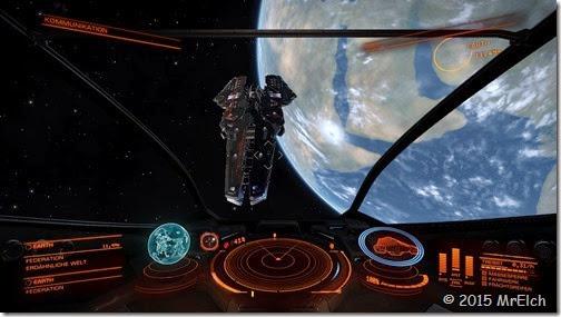 Schlachtschiff vor der Erde