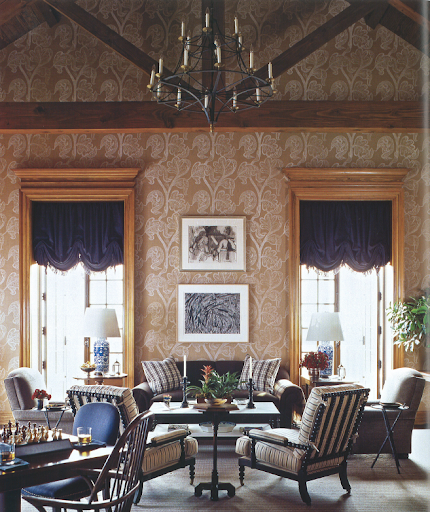 High-quality English and American antiques and custom upholstery contribute to the atmosphere of this cabin at the Alotian Golf Club in Little Rock, Arkansas.