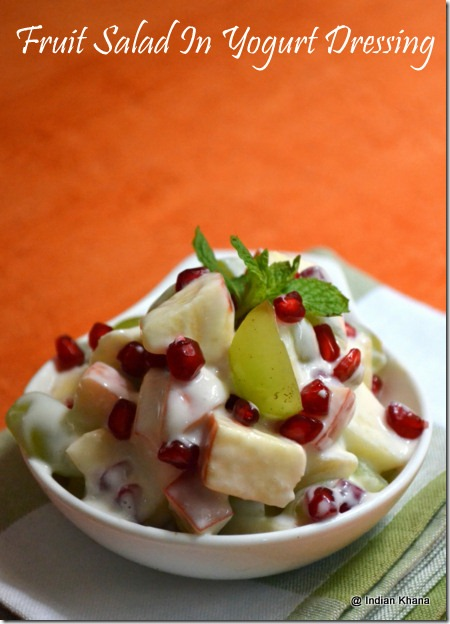 Mixed Fruit Salad in yogurt dressing recipes navratri recipes