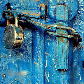 Old is Gold and Even Blue.#Lock #old #door #olddoor #inthemiddleofnowhere #photography by Udit Jain - Artistic Objects Furniture