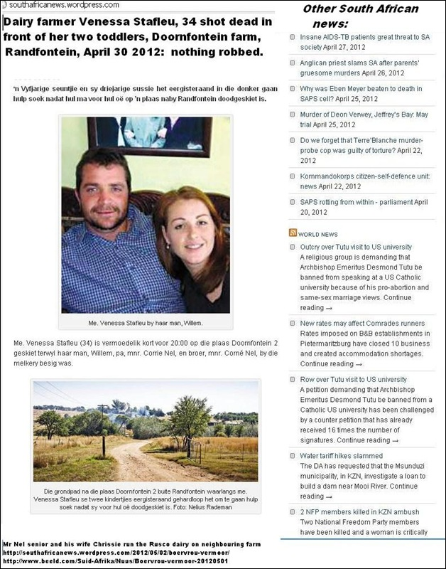 Stafleu Venessa with husband Willem SHE WAS SHOT DEAD 8pm Doornfontein DAIRY farm Randfontein