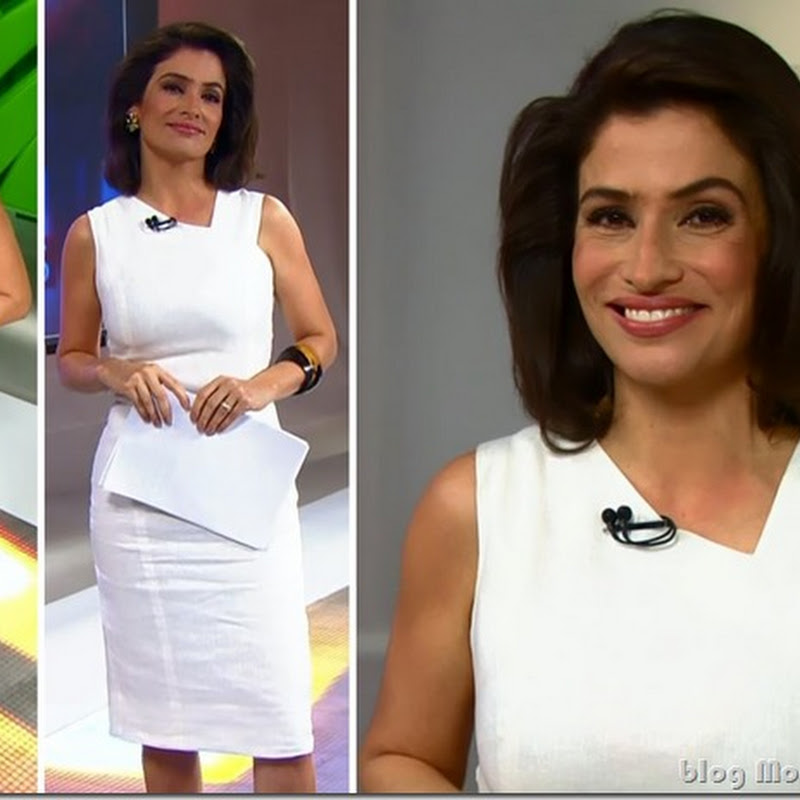 Look da Renata Vasconcellos no Fantástico dia 9 de março
