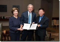 Bob Fu with President Bush and Laura in Dallas 11-01-2011