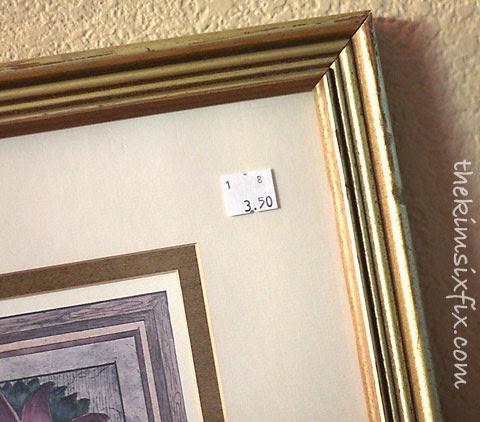 Thrift store frame pricetag