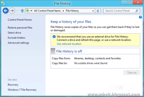 Windows 8 File History - mboir