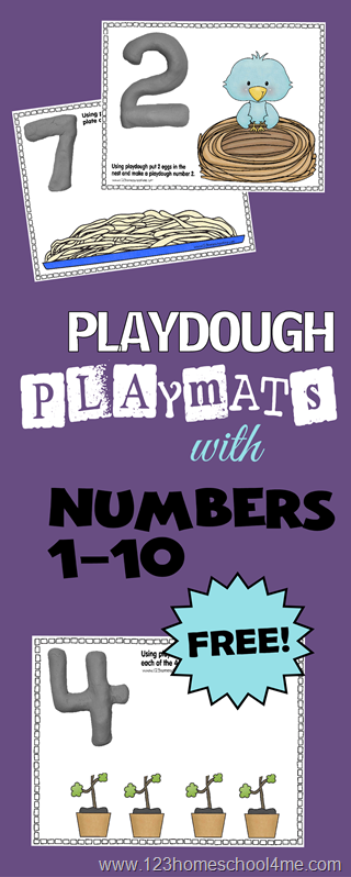 FREE!! Super cute interactive Playdough Playmats to help Toddler, Preschool and Kindergarten age kids learn their numbers from 1-10.