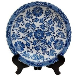 14-inch blue and white chinese porcelain decorative plate